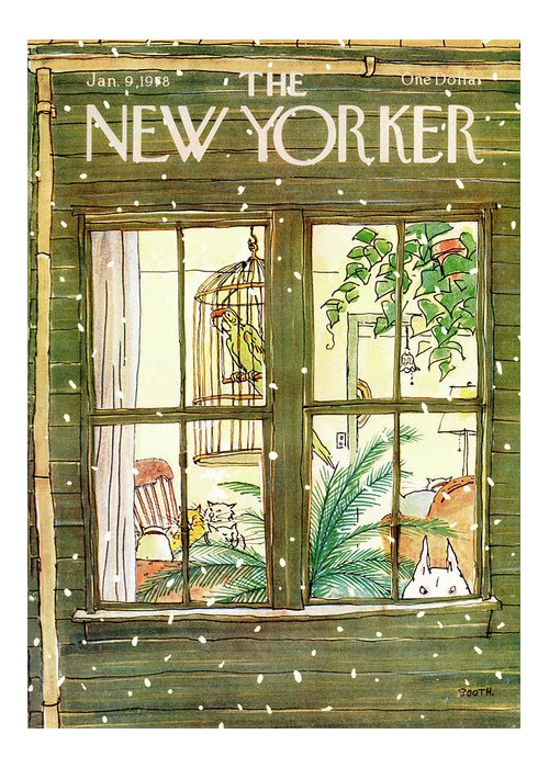 Interiors Greeting Card featuring the painting New Yorker January 9th, 1978 by George Booth