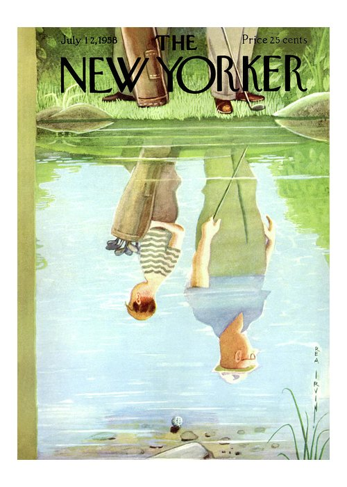 Age Greeting Card featuring the painting New Yorker July 12th, 1958 by Rea Irvin