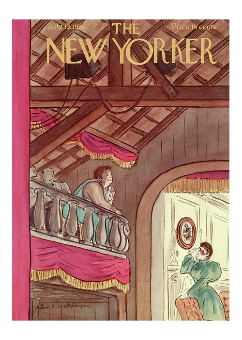 Theater Play Broadway Actor Actress Player Set Stage Playhouse Hall Entertainment Balcony Tear Tears Emotion Emotional Cry Sad Moving Touching Performance Helen E. Hokinson Hho Artkey 48459 Greeting Card featuring the painting New Yorker July 13th, 1935 by Helen E. Hokinson