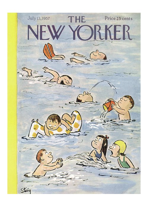 William Steig Wst Greeting Card featuring the painting New Yorker July 13th, 1957 by William Steig