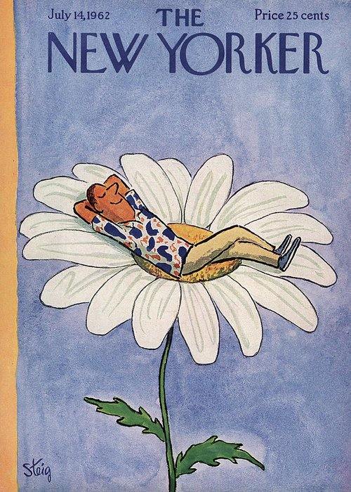Relaxation Greeting Card featuring the painting New Yorker July 14th, 1962 by William Steig