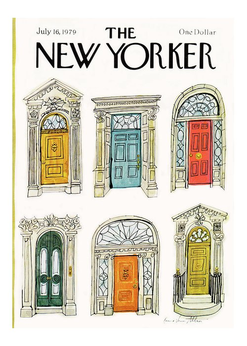 Architecture Greeting Card featuring the painting New Yorker July 16th, 1979 by Laura Jean Allen