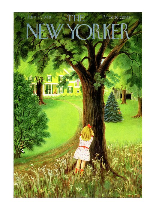 Kid Greeting Card featuring the painting New Yorker July 17th, 1948 by Edna Eicke