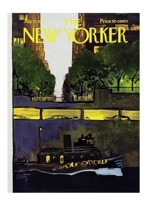 Illustration Greeting Card featuring the painting New Yorker July 17th 1971 by Arthur Getz