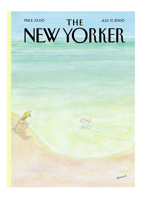 New yorker july 17th 2000 greeting card for sale by jean jacques sempe beach greeting card featuring the painting new yorker july 17th 2000 by jean jacques m4hsunfo