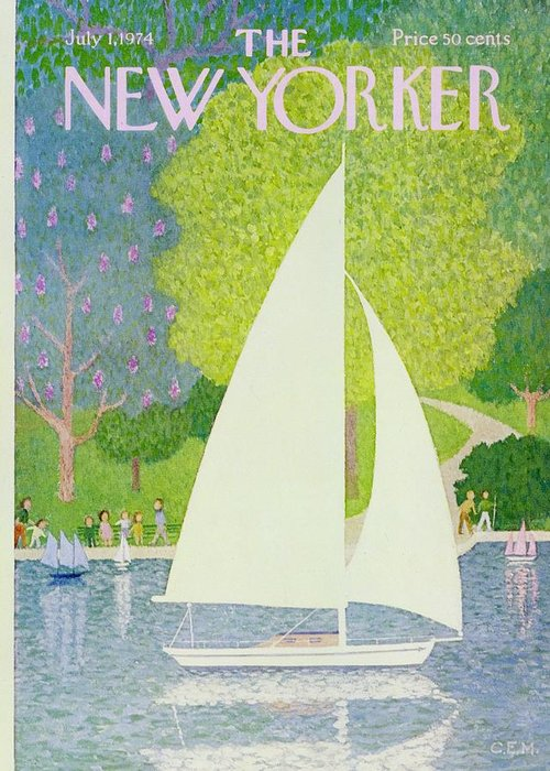 Illustration Greeting Card featuring the painting New Yorker July 1st 1974 by Charles Martin