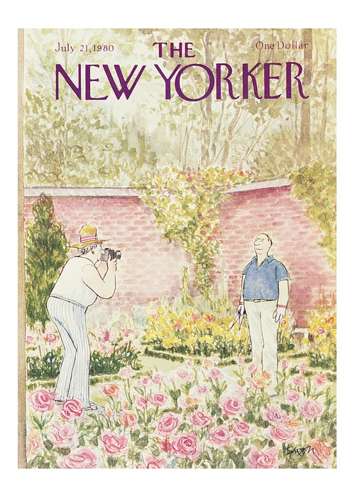 (woman Takes Photograph Of Her Gardener Husband Standing In Front Of His Flower Beds.) Leisure Hobbies Gardening Age Old Retirement Nature Gardens Roses Relationships Marriage  Charles Saxon Csa Artkey 46212 Greeting Card featuring the painting New Yorker July 21st, 1980 by Charles Saxon