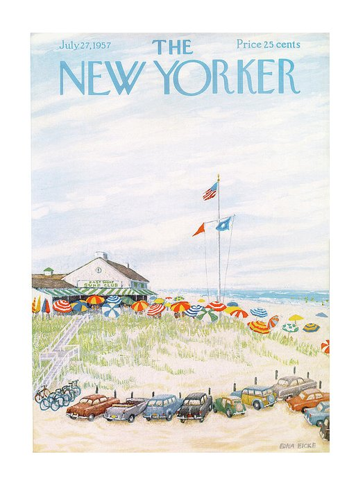 Edna Eicke Eed Greeting Card featuring the painting New Yorker July 27th, 1957 by Edna Eicke