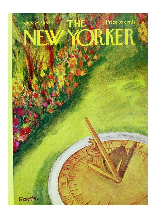 Illustration Greeting Card featuring the painting New Yorker July 29th 1967 by Beatrice Szanton