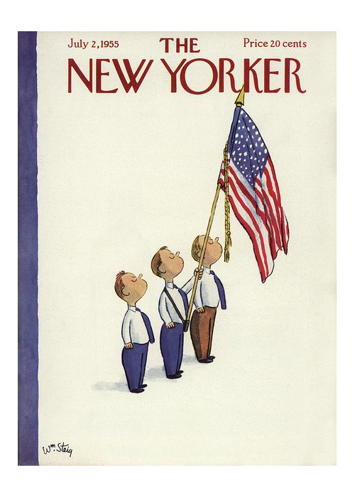 Patriotism Greeting Card featuring the painting New Yorker July 2nd, 1955 by William Steig
