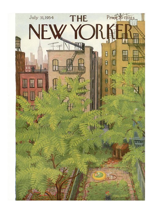 Urban Greeting Card featuring the painting New Yorker July 31st, 1954 by Edna Eicke