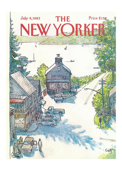 Rural Greeting Card featuring the painting New Yorker July 4th, 1983 by Arthur Getz