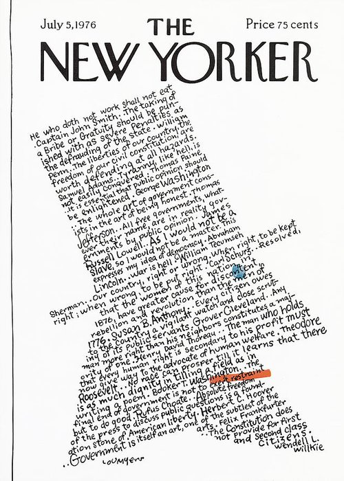 Calligraphy Greeting Card featuring the painting New Yorker July 5th, 1976 by Lou Myers