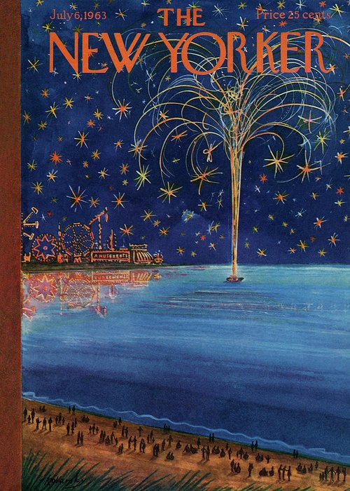 July Fourth 4th Of Independence Day Holiday Firework Fireworks Greeting Card featuring the painting New Yorker July 6th, 1963 by Anatol Kovarsky