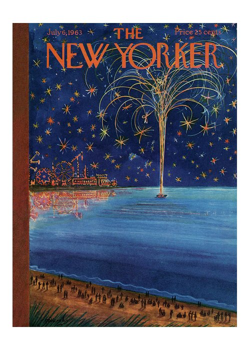 July Fourth Greeting Card featuring the painting New Yorker July 6th, 1963 by Anatol Kovarsky