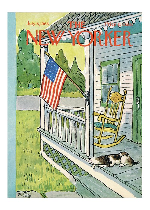 Labor Day Greeting Card featuring the painting New Yorker July 6th, 1968 by William Steig