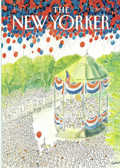 United States Greeting Card featuring the painting New Yorker July 6th, 1987 by Jean-Jacques Sempe