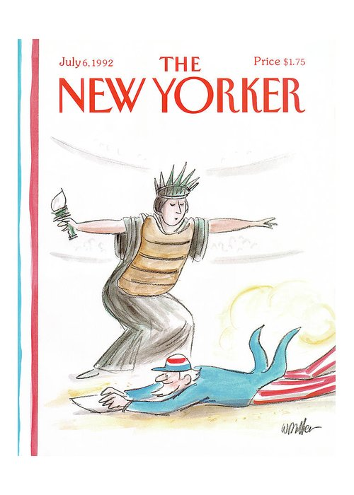 The Lady Liberty Umpire Makes A Safe Call As Uncle Sam Slides Into Home Plate. Greeting Card featuring the painting New Yorker July 6th, 1992 by Warren Miller