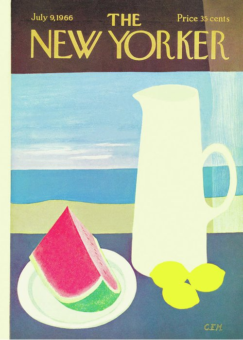 (an Image Of A Pitcher With Lemons Beside It Greeting Card featuring the painting New Yorker July 9th, 1966 by Charles E. Martin
