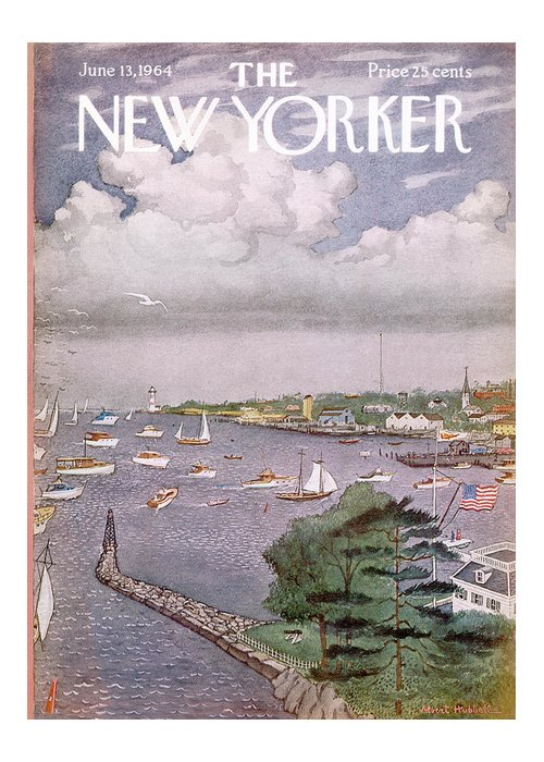 Albert Hubbell Ahu Greeting Card featuring the painting New Yorker June 13th, 1964 by Albert Hubbell