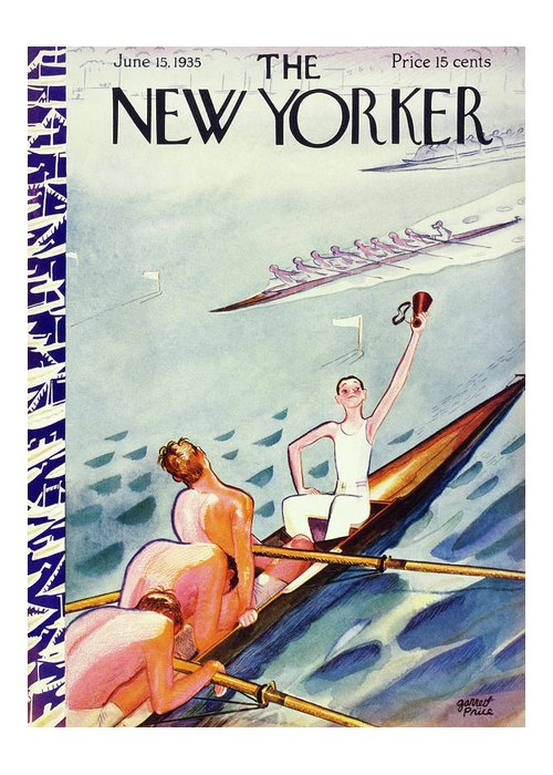 Sport Greeting Card featuring the painting New Yorker June 15 1935 by Garrett Price