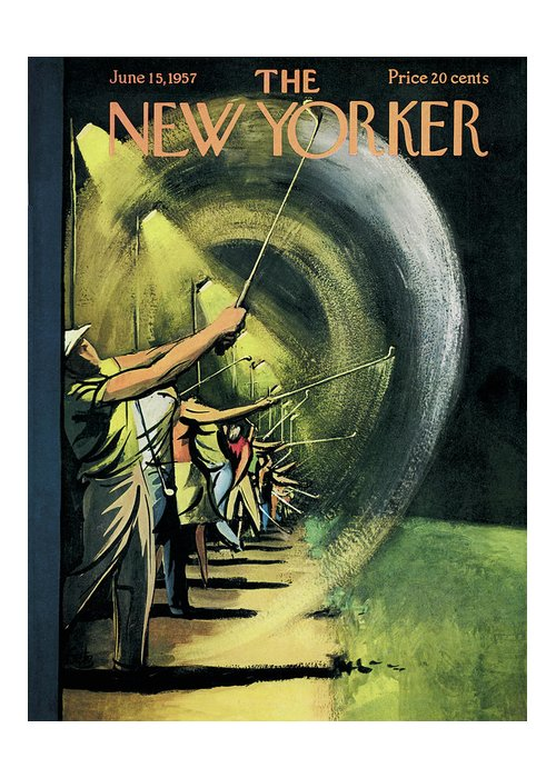 Golf Greeting Card featuring the painting New Yorker June 15th, 1957 by Arthur Getz