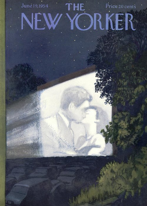 (romance Fills The Screen At A Drive In Movie Theater.) Movies Entertainment Drive-ins Love Kissing Film Cinema Cars Automobiles Suburban Arthur Getz Artkey 47870 Love Greeting Card featuring the painting New Yorker June 19th, 1954 by Arthur Getz