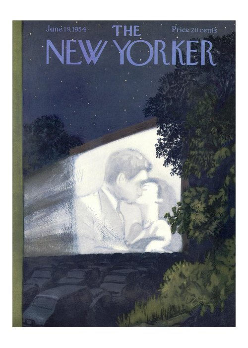 Movies Greeting Card featuring the painting New Yorker June 19th, 1954 by Arthur Getz