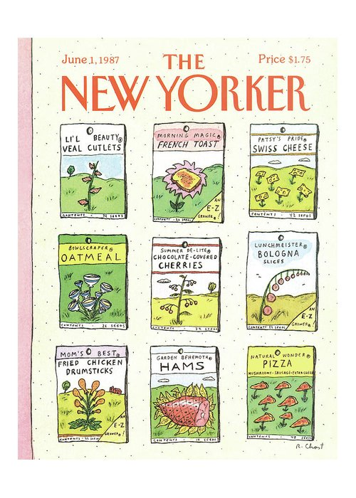 Dining Greeting Card featuring the painting New Yorker June 1st, 1987 by Roz Chast
