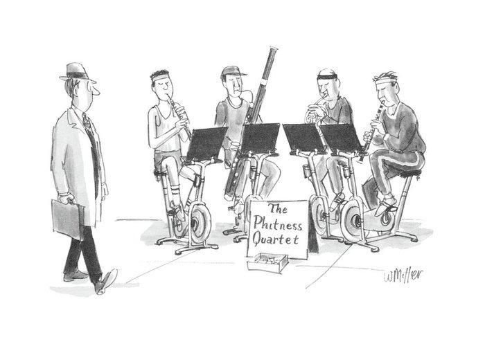 (sidewalk Quartet Greeting Card featuring the drawing New Yorker June 1st, 1987 by Warren Miller