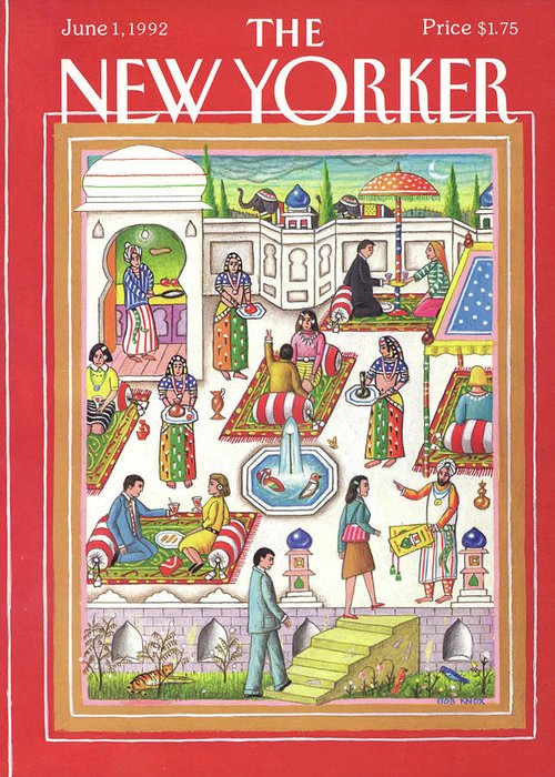 A Middle Eastern Motif Depicting A Restaurant's Employees And Patrons Partaking In Various Dining Related Activities On Carpets And Under Umbrellas. Greeting Card featuring the painting New Yorker June 1st, 1992 by Bob Knox
