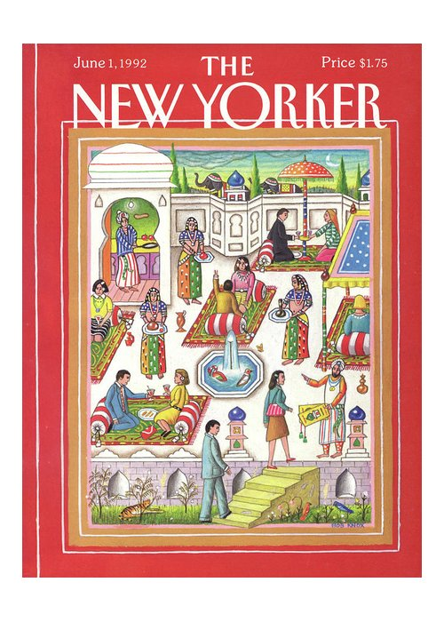 Dining Greeting Card featuring the painting New Yorker June 1st, 1992 by Bob Knox