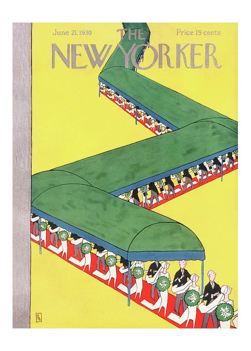 Wedding Bride Groom Vale Tuxedo Bouquet March Canopy Marriage Engagement Gardner Rea Gre Artkey 48232 Greeting Card featuring the painting New Yorker June 21st, 1930 by Gardner Rea