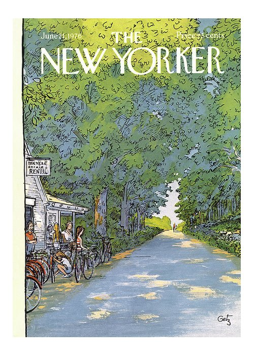 Summer Greeting Card featuring the painting New Yorker June 21st, 1976 by Arthur Getz