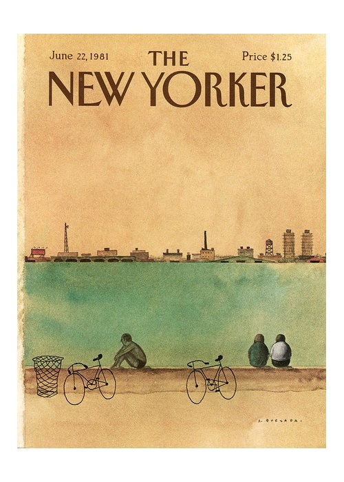 Leisure Greeting Card featuring the painting New Yorker June 22nd, 1981 by Abel Quezada