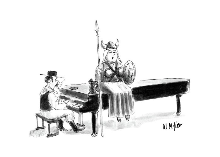(women In Operatic Viking Costume Sits Atop Piano Singing Greeting Card featuring the drawing New Yorker June 22nd, 1987 by Warren Miller