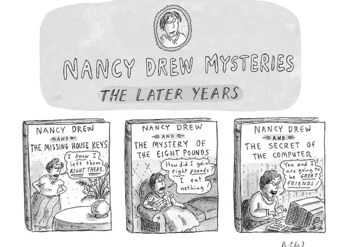 Old Age Greeting Card featuring the drawing New Yorker June 22nd, 1998 by Roz Chast