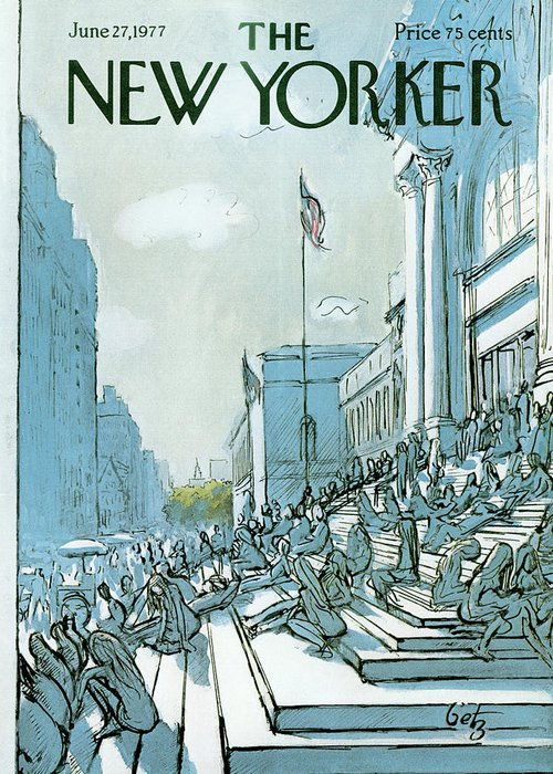 Summer Greeting Card featuring the painting New Yorker June 27th, 1977 by Arthur Getz