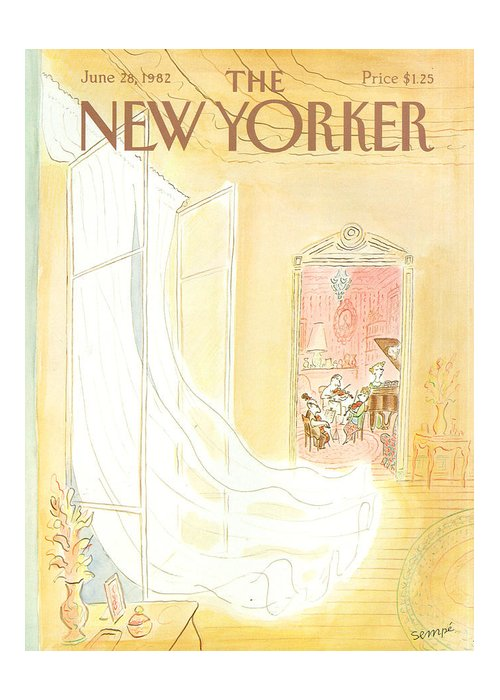 Music Greeting Card featuring the painting New Yorker June 28th, 1982 by Jean-Jacques Sempe