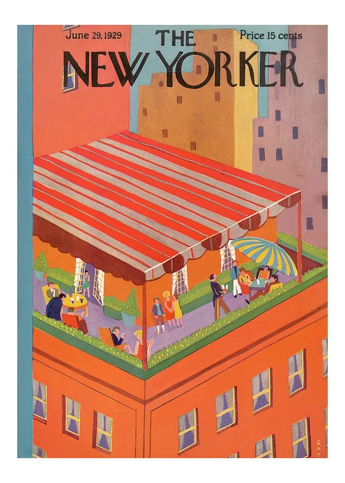 Rooftop Greeting Card featuring the painting New Yorker June 29th, 1929 by Ray Euffa
