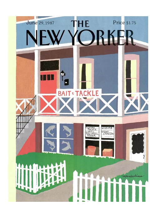Rural Greeting Card featuring the painting New Yorker June 29th, 1987 by Marisabina Russo
