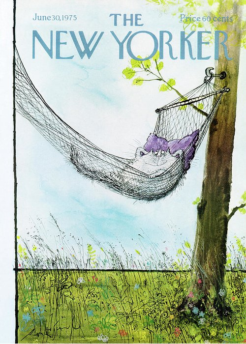 Animals Greeting Card featuring the painting New Yorker June 30th, 1975 by Ronald Searle