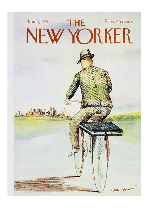 Illustration Greeting Card featuring the painting New Yorker June 3rd 1974 by Paul Degen