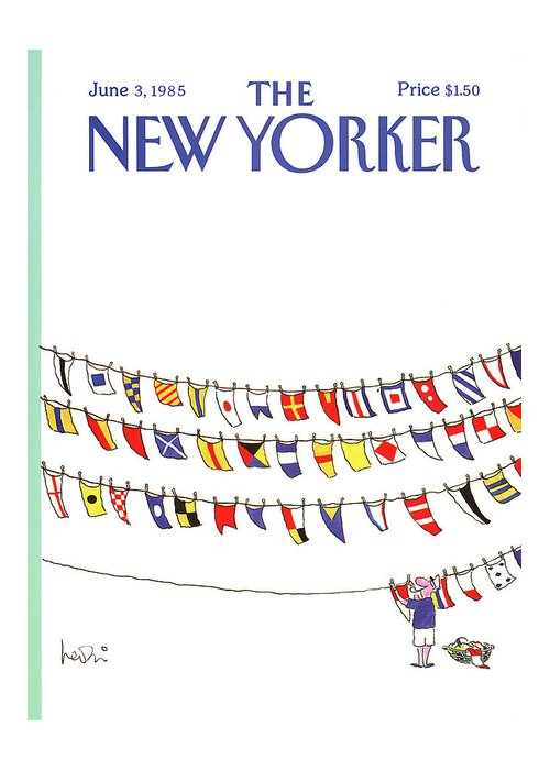 Leisure Greeting Card featuring the painting New Yorker June 3rd, 1985 by Arnie Levin