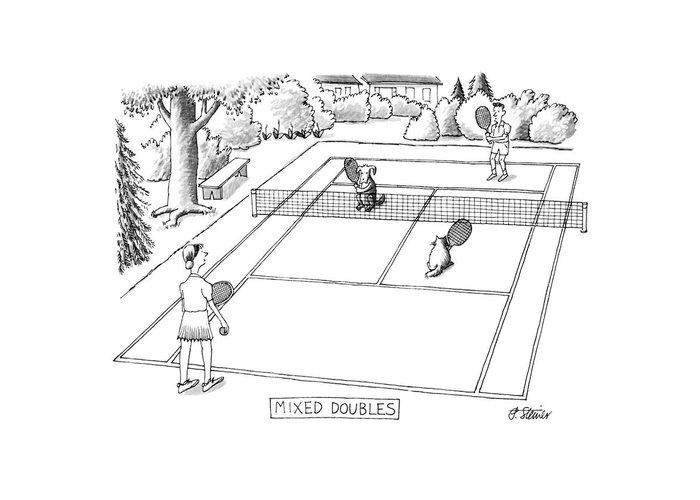 Tennis Drawings Greeting Cards