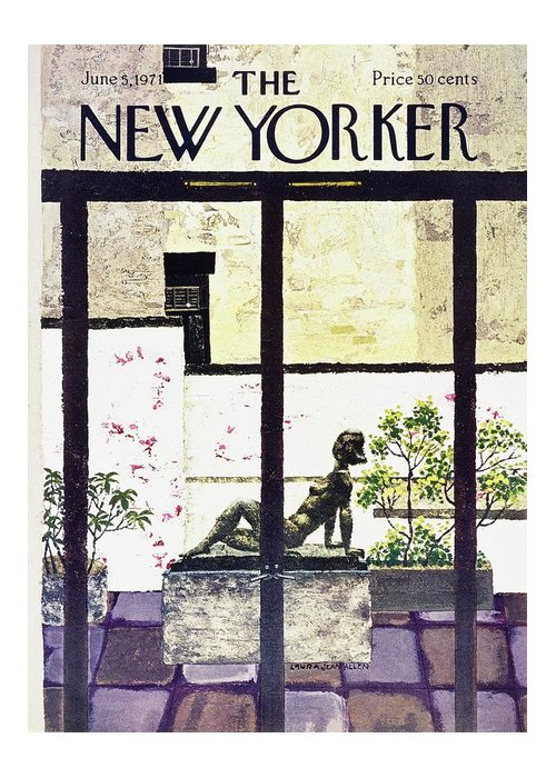 Illustration Greeting Card featuring the painting New Yorker June 5th 1971 by Laura Jean Allen