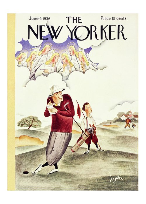 Sport Greeting Card featuring the painting New Yorker June 6 1936 by Constantin Alajalov