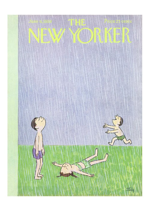 New yorker june 6th 1959 greeting card for sale by william steig three children happily play in the rain weather season summer leisure kids william m4hsunfo