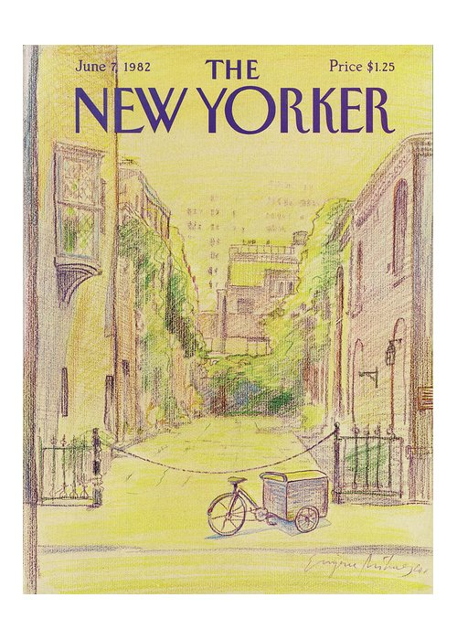 Washington Mews Greeting Card featuring the painting New Yorker June 7th, 1982 by Eugene Mihaesco