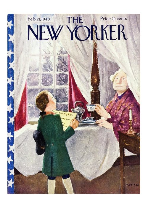 Illustration Greeting Card featuring the painting New Yorker February 21 1948 by William Cotton